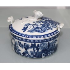 Royal Worcester Dr Wall First Period Blue & White Fence Pattern Butter Tub & Cover