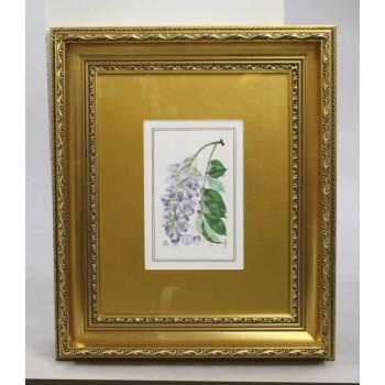 Royal Worcester Wistaria Porcelain Plaque Set in Gilt Frame