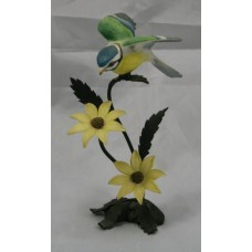 Royal Worcester Blue Tit Porcelain on Bronze Figure