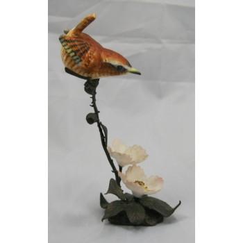Royal Worcester Wren Porcelain on Bronze Figure