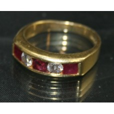 Ruby & Diamond Five Stone Band Ring