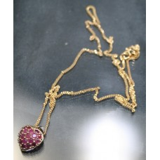 Ruby & Diamond Heart Pendant on 9ct Gold Chain