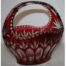 Cut Glass Ruby Overlay Crystal Basket