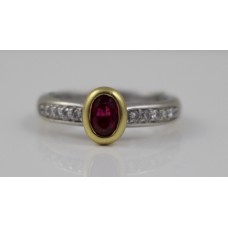 Ruby Yellow Gold Surround Diamond 18ct White Gold Ring