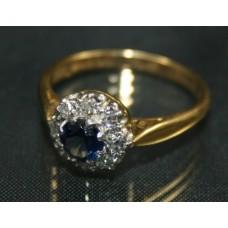 Sapphire & Diamond Cluster Ring C & F