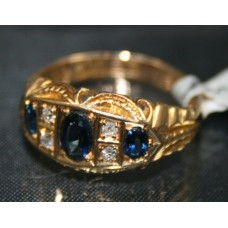 Sapphire & Diamond Antique Style Ring