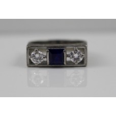 Sapphire & Diamond Art Deco Style Three Stone Ring