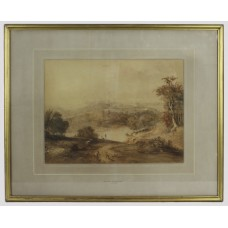 Sepia Landscape Watercolour by Henry Fielding (English, 1781-1851)