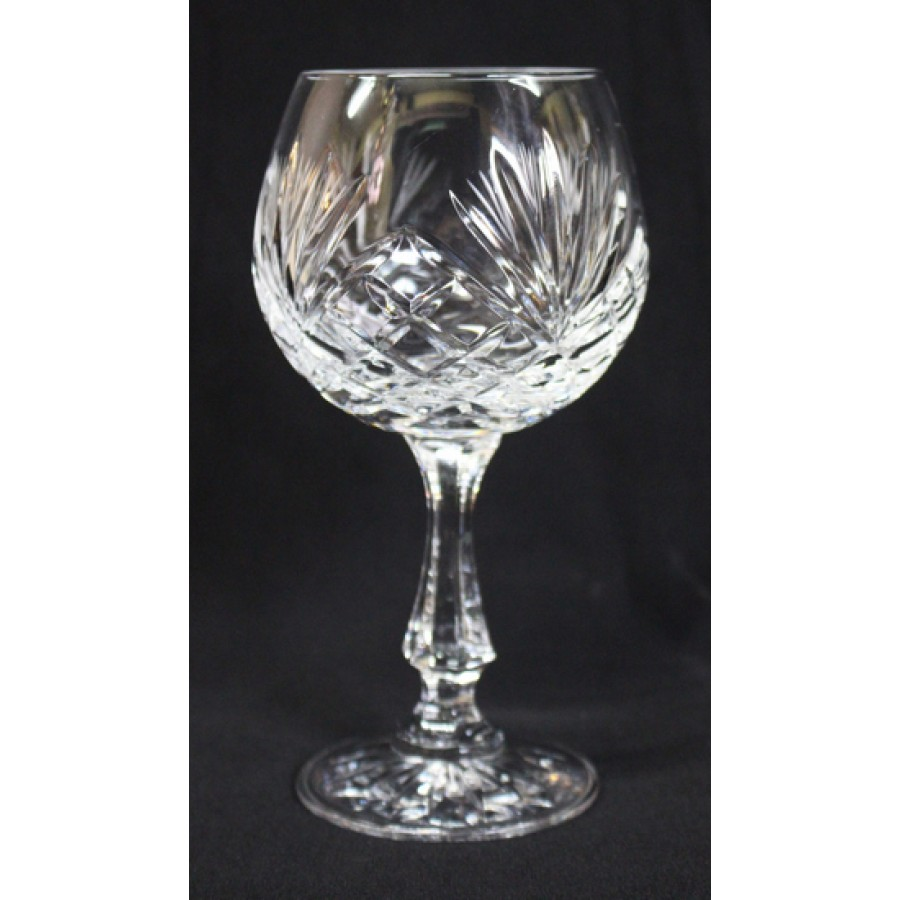 Set Of 6 Vintage Cut Glass Crystal Wine Glasses