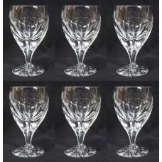 Set of 6 Fine Cut Glass English Crystal Wine Glasses