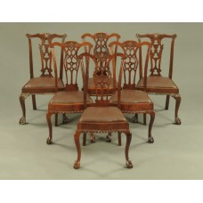 Set of 6 Mahogany Ball & Claw Leather Seated Dining Chairs