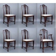 Set of 6 Edwardian Mahogany Wheatsheaf Dining Chairs
