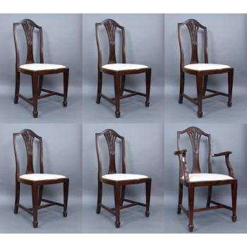 Set of 6 Edwardian Mahogany Wheatsheaf Dining Chairs