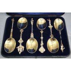 Cased Set of Six Silver Gilt Apostle Serving Spoons 1895
