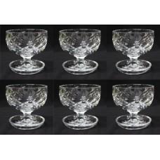 Set of 6 Vintage Cut Glass Crystal Sundae Dishes