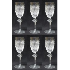 Set of 6 Heavily Cut Waterford Knopped Stem Port Glasses