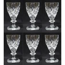 Set of 6 Heavy Cut Glass English Wine Glasses