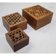 Set of Three Carved Wood Late 20th c. Trinket Boxes