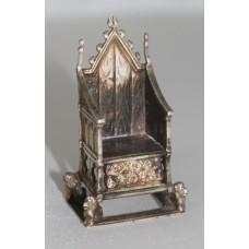 Fine Silver Edwardian Miniature Throne Chair London 1901