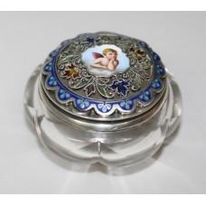 Silver, Enamel & Crystal Pill Box Georg Adam Scheid Vienna c.1900