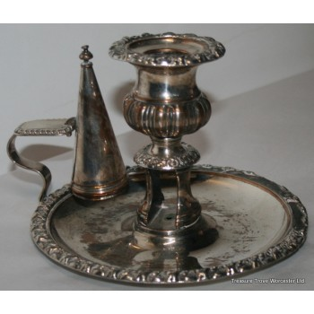 Antique Sheffield Plate Silver Candle Holder