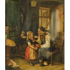 A.Sinclair (19th c. Scottish School) 'Old Man Reading to Girl' Oil on Canvas