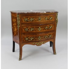 Small French Marble Topped Inlaid Chest of Drawers c.1880