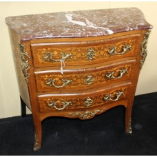 Small Late 19th c. Marble Topped Inlaid French Chest of Drawers