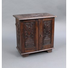 Small Victorian English Carved Oak Cabinet