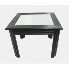 Mirror Topped Ebonized Side Table