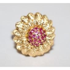 Sunflower Design Ruby 18ct Yellow Gold
