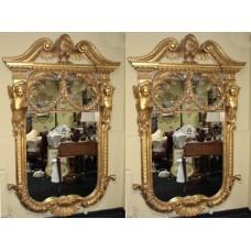 Superb Pair of Ornate Hand Carved Gilt Mirrors