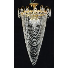 Tall Vintage Crystal & Gold Plated Twist Form Chandelier