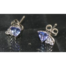 Tanzanite & Diamond White Gold Earrings