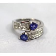 Tanzanite & Diamond Crossover White Gold Ring