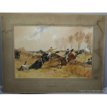 """""""The Last Fence"""" Victorian Horse Racing Watercolour by W.H.Temple"""