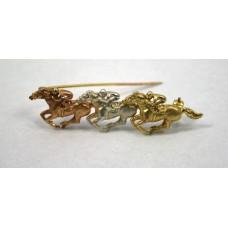Three Colour Gold Ascot Horse Racing Brooch