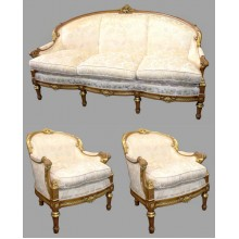 Ornate Upholstered French Empire Style Three Piece Suite