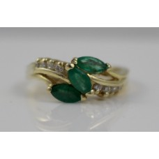 Three Stone Emerald & Diamond 14k Ring