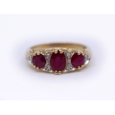 Three Stone Ruby & Diamond 9ct Gold Ring