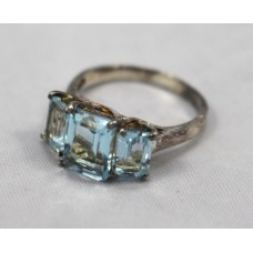 Three Stone Topaz Sterling Silver Ring