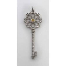 Tiffany & Co Platinum 18ct Gold Diamond Bloom Key Pendant