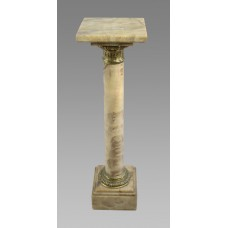 Variegated Marble & Gilt Metal Pedestal Column