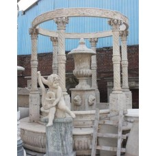Very Fine Classical Style Carved Stone Roman Temple Columns & Urn
