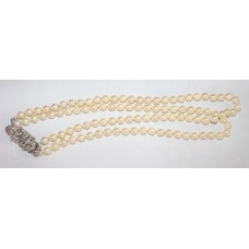 Very Fine Double Row Pearl Necklet with Diamond Clasp