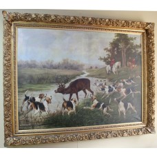 Very Large Grand Hunting Painting Oil on Canvas Set in Gilt Frame