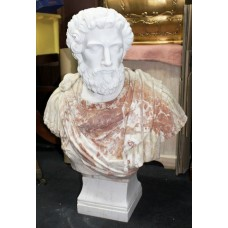 Very Large Heavy Carved Marble Greco-Roman Bust