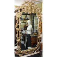 Very Large Tall Carved Wood Chippendale Style Gilt Mirror