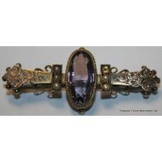 Victorian Amethyst & Pearl 9ct Gold Bar Brooch