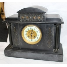 Victorian Black Marble Temple Style Mantle Clock